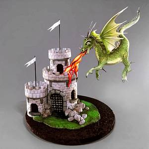 Medieval Castle and Dragon Cake - Cake by Serdar Yener | Yeners Way - Cake Art Tutorials