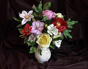 My gum paste flowers for Cake Art Bulgaria - Cake by StelaKoleva
