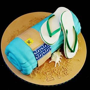 Beach towel cake  - Cake by WhenEffieDecidedToBake
