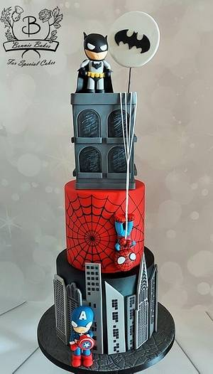 Superhero tiered cake Batman Spiderman Captain America - Cake by Bonnie Bakes UAE