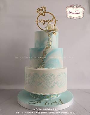 white and blue - Cake by mona ghobara/Bonboni Cake