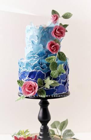 Blue wedding cake - Cake by Urvi Zaveri