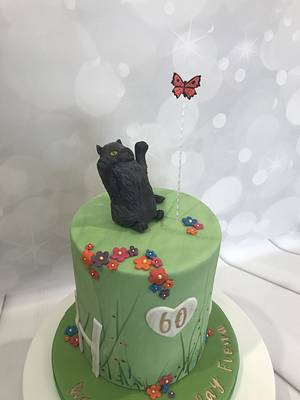 Cat and butterfly - Cake by bakemydayiom