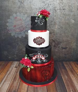 Tattoo style wedding cake - Cake by Sam & Nel's Taarten