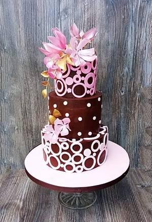 Chocolate with flowers from rice paper - Cake by Zuzana Bezakova