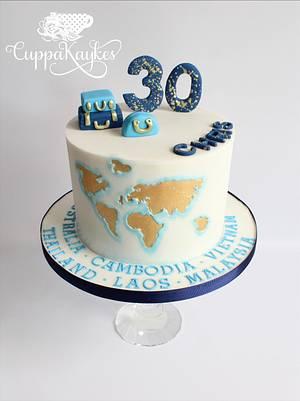 Travel Themed 30th Birthday Cake  - Cake by Kaylu