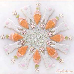 Flowers carrots and bunnies cookies  - Cake by Evelindecora