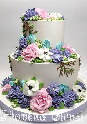 Whippingcream flower cake - Cake by Filomena