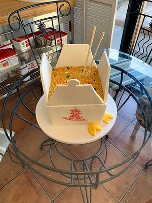 Box of Chinese Food Take out sculpture cake - Cake by tvbhouston