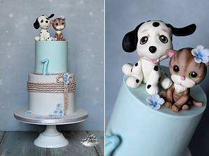 Little doggy and kitten  - Cake by Lorna