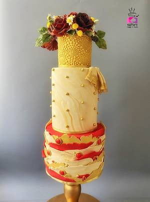 Red and Gold Wedding Cake - Cake by Chanda Rozario