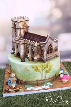 Replica Church & Peter Rabbit Christening cake - Cake by DusiCake