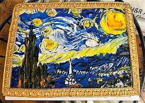 A Half Sheet cake decorated to look like  Vincent van Gogh's Starry Night - Cake by tvbhouston