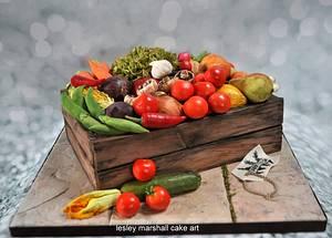 Veg/Fruit Box - Cake by Lesley Marshall cake art