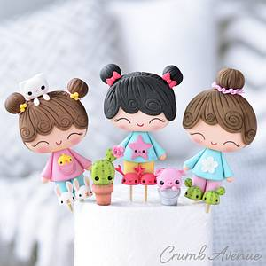 Cute Girl Cake Toppers - Cake by Crumb Avenue