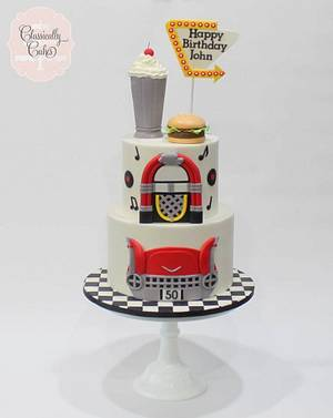 50s Themed Drive-In Cake - Cake by Classically Cakes