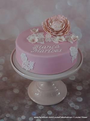 Elegant peony lace cake - Cake by Louise