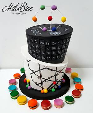 Scientific Topsy Turvy cake & macarons - Cake by MileBian
