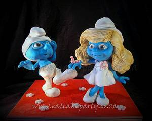 Clumsy and Smurfette 3D cakes - Cake by Dorothy Klerck