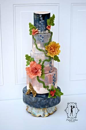 Italian Majolica Inspired for Around the World in Sugar Weddings Collaboration - Cake by PrimaCristina