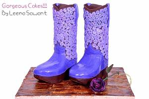 """Little Princesses Boots- Inspired by """"Want My New Shoes"""" PDCA CAKER BUDDIES COLLABORATION  - Cake by GorgeousCakesBLR"""