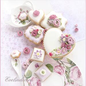 Flower cookies  - Cake by Evelindecora