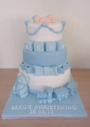 Baby Boy Christening Cake  - Cake by FairyDelicious