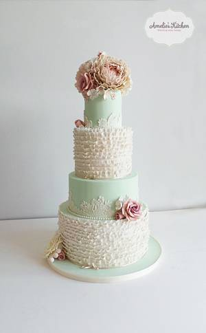 Ruffles with faded vintage peonies and roses - Cake by Helen Ward