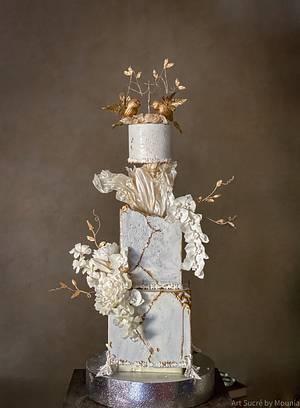 White kintsugi Engagement cake - Cake by Art Sucré by Mounia