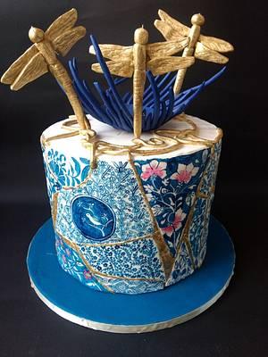 Caker buddies Pottery Theme Collab: Blue Pottery and Kintsugi Art  - Cake by CraftyCrust
