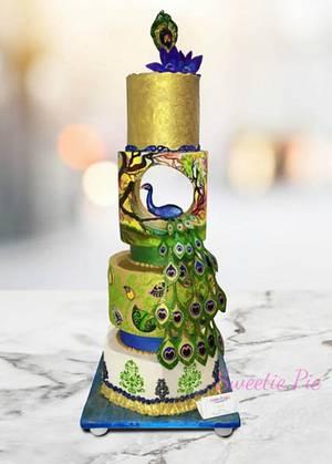 PEACOCK THEMED WEDDING CAKE - Cake by Rupali Pal