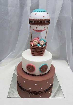 Twins boy&girl christening cake - Cake by Tirki