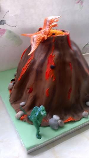 Volcano and dinosaurs cake - Cake by cupcakes of salisbury