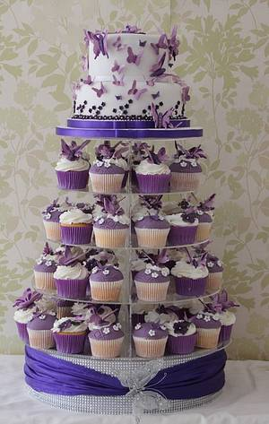 Purple and white butterfly wedding cake - Cake by Cakes o'Licious