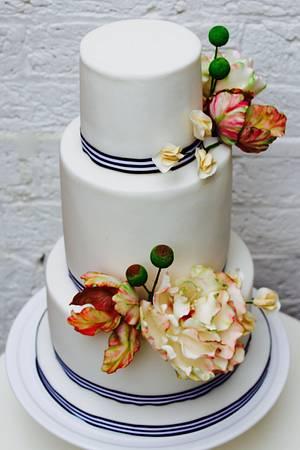 Parrot Tulip & Peony White Wedding  - Cake by The Black Rosé Bakery Bakery