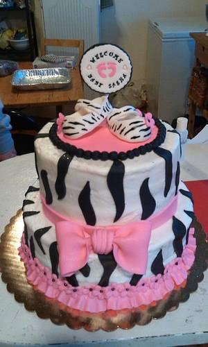 Zebra Print Baby Shower Cake  - Cake by Jeana Byrd