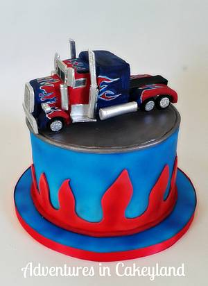 Transformers Optimus Prime Truck - Cake by Adventures in Cakeyland
