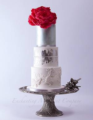 Pink peony on silver tones - Cake by Enchanting Merchant Company