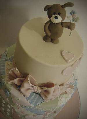Patchwork teddy - Cake by Shereen