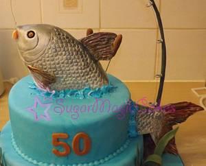 Splashing fish 50th cake - Cake by SugarMagicCakes (Christine)
