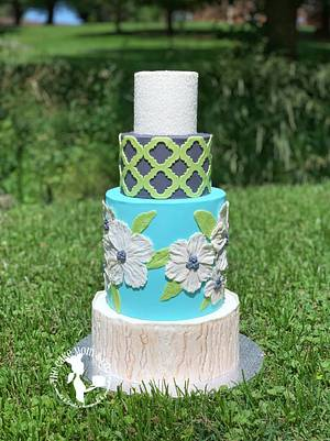 Blue Floral Wedding Cake - Cake by The Cake Mom & Co.