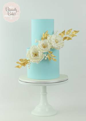 Powder Blue, Peonies, and Gold - Cake by Classically Cakes