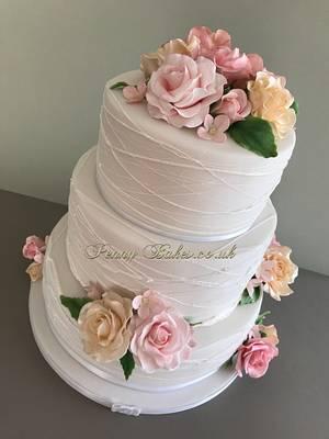 Pastel rose's Wedding cake. - Cake by Penny Sue
