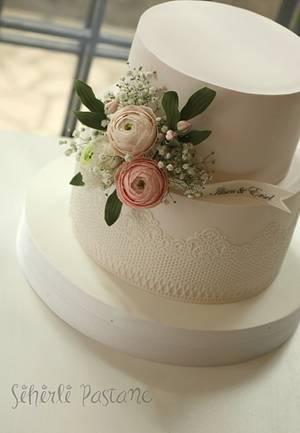Ranunculus Wedding Cake - Cake by Sihirli Pastane