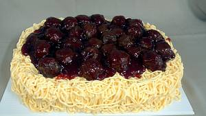 Spaghetti & meatball cake - Cake by subwaygirl23