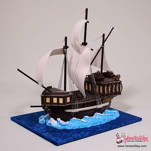 Simple 3D Galleon Ship Cake - Cake by Serdar Yener | Yeners Way - Cake Art Tutorials