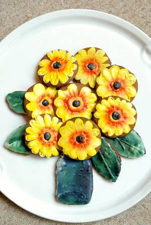 Sunflower cookie - Cake by Aurelia'sTartArt