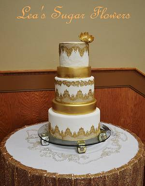 Lace and Gold Wedding Cake - Cake by Lea's Sugar Flowers
