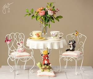 Whimsical Tea party on the Patio - Cake by Jeanne Winslow