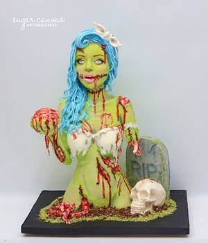 pin-up style zombie - Cake by Sugar Canvas